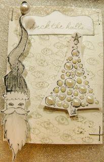 "#xmas #ATC by Mmlsweet with 3rd Eye stamps ""eyes"", ""Santa"" and ""Xmas tree"""