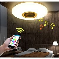(Sponsored Link) Recessed LED Lamp of Ceiling with Bluetooth Alarm Clock App and Command Star Lights On Ceiling, Ceiling Lamp, Led Pendant Lights, Pendant Lighting, Luminous Flux, Music App, App Control, Ceiling Panels, Light Music