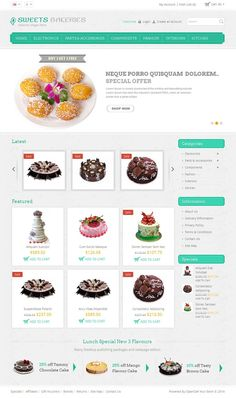 Sweet Bakeries #OpenCart #Template is specially designed for cakes, food and restaurant store. Sweet Bakeries OpenCart Template looking good with it's color combination. All sub pages are #customized. It is very nice with its clean and professional look.