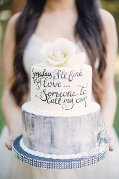 wedding cake with writing - photo by Joanna Fisher http://ruffledblog.com/snow-white-inspired-bridal-session