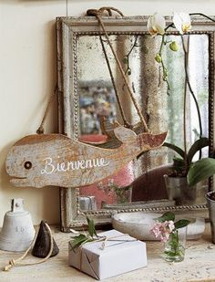 The cutest wooden whale cutout!.