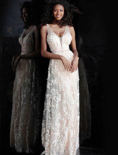 ffc0c1e682 Jovani - JVN66127 Floral Appliqued Tulle A-Line Gown