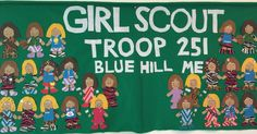 Our Troop Banner!  Girl Scout Banners, Girl Scout Troops, Mixed troop banner