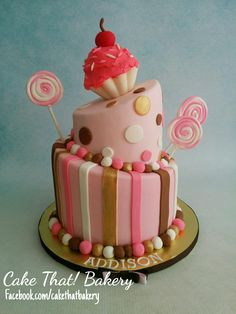 Sweet  pink and brown cupcake theme cake