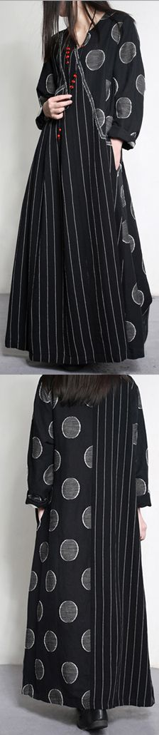 2017  plaid striped patchwork linen dresses plus size asymmetric warm maxi dresses