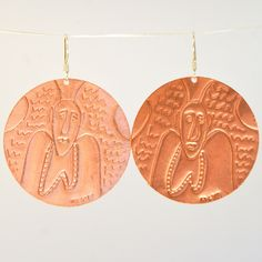 """Archangel Raphael """"Contact Medallion"""" Hand-Embossed Solid Copper Disc Earrings"""