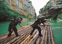 Foz de Lumbier. Almadías (rafts). Navarre