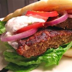 Bbq Grilling, Gyros Burgers, This Is A Greek/American Lamb And Beef Mixture Version Of The Traditional Greek Pork Or Lamb Gyros (Or Gyro). Serve On Warm Pita Bread With Tzatziki Sauce, And Thinly Sliced Onion, Tomato And Lettuce. Grilling Recipes, Cooking Recipes, Healthy Recipes, Gyro Burger Recipe, Gyro Meat, Lamb Burgers, Tasty, Yummy Food, Beef Dishes