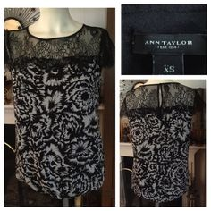 """NWOT Black Lace & Flowery Print Top ~  ANN TAYLOR This very feminine NWOT ANN TAYLOR black-and-white flowery print top has an exquisite black lace yoke panel and barely there lace cap flutter sleeves. The bodice section is fully lined with a not-too-tight elasticized bottom. The back has a keyhole button opening. Size XS. Measured flat:  19"""" under arms across bust and down; 16-1/2"""" across bottom; 22"""" from top of shoulder to bottom hem. Smoke-free home. Ann Taylor Tops"""