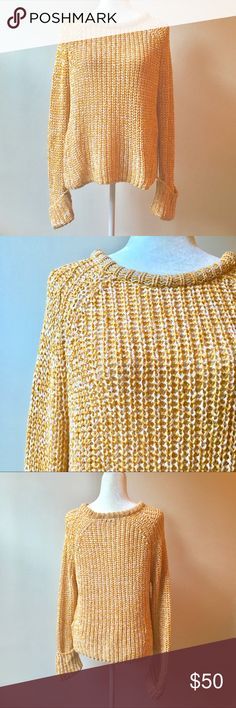 H&M Mustard Yellow Open Knit Sweater Sz Medium H&M Mustard Yellow and White Open Knit Sweater Sz Medium. Spongy knit texture, super soft and comfy! True to size. ID3 ✨Offers always welcome✨ H&M Sweaters