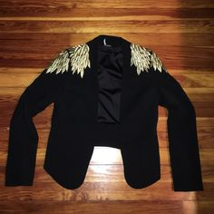 Urban Outfitters Cropped Blazer Cropped blazer, golf leaf embroidered shoulders. Brand is Sparkle and Fade. Worn once. Urban Outfitters Jackets & Coats Blazers