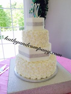 Bling wedding cake with piped buttercream rosettes
