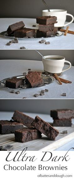 Dark chocolate fudge brownies. A recipe for chocolate brownies that are incredibly fudgy and rich. ~ ofbatteranddough.com