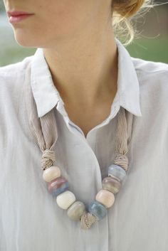 Best 11 Porcelain Candy Beaded Necklace by TravkCeramics on Etsy – SkillOfKing. Yarn Necklace, Ribbon Necklace, Fabric Necklace, Scarf Jewelry, Textile Jewelry, Fabric Jewelry, Beaded Jewelry, Handmade Jewelry, Jewelry Necklaces