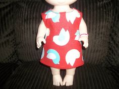 Baby 12 inch Alive doll handmade dress red with birds on it by sue18inchdollclothes on Etsy