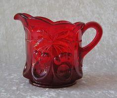 Mosser Glass USA-Red Cherry Thumbprint Design-Creamer/Pitcher/Server NEW