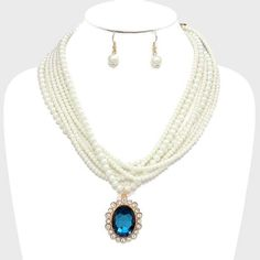 Cream Pearl Beads Strands Blue Clear Crystal Gold Retro Necklace Earrings Set #Uniklookjewelry