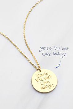 Handwritten Jewelry Horizontal Bar Necklace Personalized