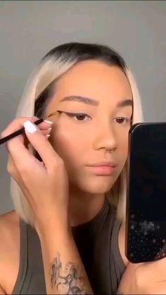 Dope Makeup, Edgy Makeup, Makeup Eye Looks, Eye Makeup Art, Flawless Makeup, Skin Makeup, White Eyeliner Makeup, Simple Makeup Looks, Eyeliner Looks