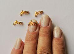 Gold metal LOVE metallic 3d nail charm,Gold Nail Art,Nail Bling,Nail Jewelry,  | eBay