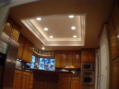 recessed kitchen ceiling lighting   Bing Images   Kitchen cabinet     I also like the different round lights  it would match the round lights  already elsewhere in our kitchen