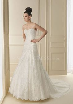 Sweetheart A line Lace Asymmetric Waist Floor Length Sleeveless Wedding Dress