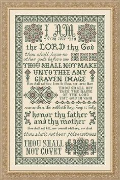 10 Commandments Cross Stitch pattern-I would love to do this for our home!