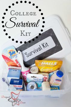 All Freshman students need a college survival kit. Here is what my son's College Survival Kit looks like. by DeDe Bailey Survival Kit Gifts, Survival Supplies, Survival Prepping, Survival Skills, Survival Gear, Survival Hacks, Wilderness Survival, Dorm Survival Kits, Tactical Survival