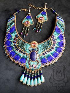 Handmade beaded jewelry by Ulyana Moldovyan. Jewelry set in ancient Egypt style. #jewelry #egypt #goddess #necklace Handmade Beaded Jewelry, Handmade Necklaces, Fashion Necklace, Fashion Jewelry, Ancient Egyptian Jewelry, Jewelry Sets, Jewelry Making, Jewelries, Modern Jewelry