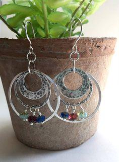 Sterling Silver Hoop Earrings Czech Bead Earrings Picasso