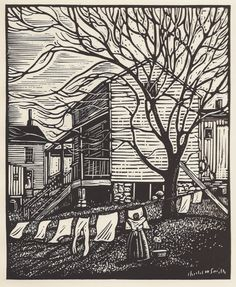 Charles W. Smith, Jackson Ward, linocut - thin lines for the sky and thicker broken lines for the slats of the house