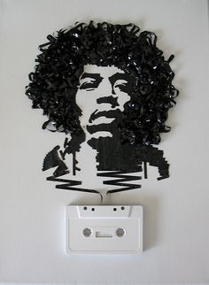 Recycled tape portraits