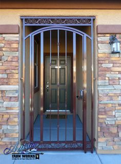 """Arched Look"" Wrought Iron Front Entry Gate Front Door Entrance, Entry Gates, House Entrance, Front Entry, Window Grill Design, Door Design, Metal Gate Door, French Door Decor, Mexican Style Homes"