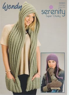Knitting Pattern Scarf with Hood, Mitts and Earflap Hat in Wendy Serenity Super Hooded Scarf Pattern, Crochet Hooded Scarf, Crochet Men, Crochet Scarves, Crochet Shawl, Chunky Knitting Patterns, Shawl Patterns, Quick Knits, Knitted Hats