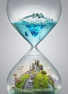 Time and Global Warming. Surreal and Satirical Photo Manipulation. To see more art and information about Ferdi Rizkiyanto click the image. Natur Tattoos, Plakat Design, Creative Advertising, Art Graphique, Environmental Art, Surreal Art, Hourglass, Photo Manipulation, Climate Change