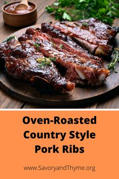 Baked Pork Ribs, Slow Roast Pork, Pork Roast In Oven, Ribs In Oven, Beef Ribs, Slow Cooker Pork, Pork Rib Marinade, Country Style Ribs Oven, Country Ribs Recipe