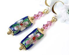 Flower Cloisonne Rose Pink Crystal Earrings by PrettyGonzo on Etsy Earrings Handmade, Handmade Jewelry, Bead Caps, Designer Earrings, Crystal Earrings, Pearl White, Pink Roses, Artisan, Jewelry Making
