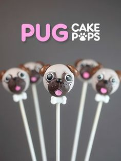 Pug Cake Pops - an adorable cake pop tutorial perfect for a Puppy or Dog themed party! Cake Cookies, Cupcake Cakes, Pug Cupcakes, Pug Cake, Candy Wafers, Cake Pop Tutorial, Bakerella, Salty Cake, Puppy Party