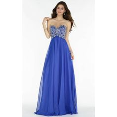 Alyce 6682 Wedding Guest Dress Long Strapless Sleeveless ($370) ❤ liked on Polyvore featuring dresses, formal dresses, sapphire, fit and flare cocktail dress, long evening dresses, strapless prom dresses and cocktail dresses