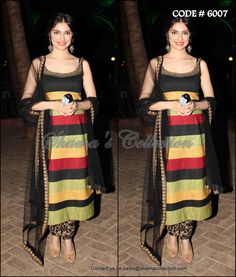 6007 Divya Khosla Kumar's black and multicolor straight fit suit - Shama's Collection