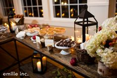 A delicious station with fresh baked desserts focused on the season. Photo Courtesy of Emilie Inc.