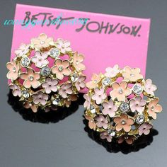 Betsey Johnson Glazed Flowers Ear Studs Earrings Girl Gift +Tag,BJE47