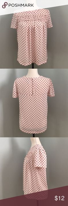 Elle Polka Dots Top • Cute pink top with back polka dots • Tiered ruffles in chest area • Clasps in the back • 100% Polyester • Machine wash cold 🚫Trade Elle Tops Blouses
