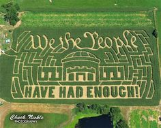 """PHOTO: """"We the people have had enough"""" etched in an actual corn field maze, by Chuck Nickle Photography.  I love my fellow patriots!  This is awesome. Truly."""
