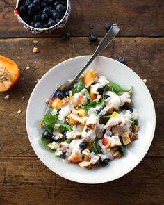 Chicken Blueberry Poppyseed Salad | pinchofyum.com
