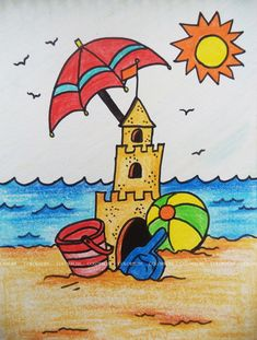 Easy Drawings For Kids, Art For Kids, Crafts For Kids, Arts And Crafts, Beach Drawing, Snoopy, Fictional Characters, Design, Ideas