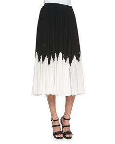 Raoul Jackie Short-Sleeve Triangle-Neck Blouse & Betty Pleated Contrast Midi Skirt