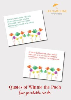 Paulene Cruse - Striving for Progress, Not Perfection: Quotes of Winnie the Pooh Free Printable Cards