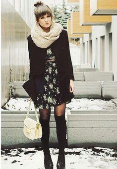 Les robes l'hiver... Collant et  bas long oui !!