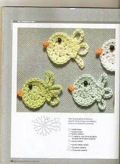 Pajarito aplique crochet patrón •✿•  Teresa Restegui http://www.pinterest.com/teretegui/ •✿•